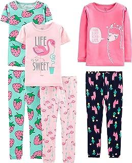 6-Piece Snug Fit Cotton Pajama Set Bebé Niñas, Pack de 6