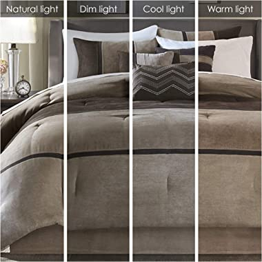 """Madison Park Palisades 6 Piece Faux Suede Duvet Cover, King/Cal King(104""""x92""""), Brown"""