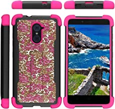 TurtleArmor | Compatible with ZTE Imperial Max Case | Max Duo | Grand X Max 2 [Grip Combat] Rugged Impact Dual Resistant Armor Kickstand Defender Case Pink Designs - Pink Leopard Print