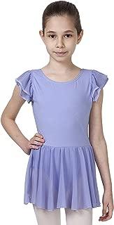 Girls Flutter Sleeve Skirted Ballet Leotard Organic Cotton Spandex Dance Gymnastics