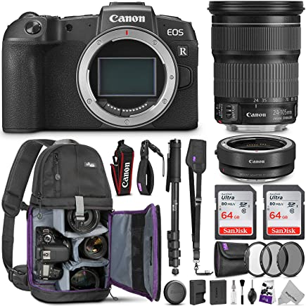$1699 Get Canon EOS RP Mirrorless Camera with EF 24-105mm STM Lens w/Canon Mount Adapter & Advanced Photo and Travel Bundle