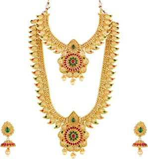 a7454328c Apara Copper Bridal South Indian Traditional Necklace Jewellery Set Combo  for Women