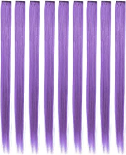 RYE 9PCS 20Inch Multicolored Clip in Hair Extensions for Girls Wig Pieces for Kids Party Highlight Hair (Blue Purple)
