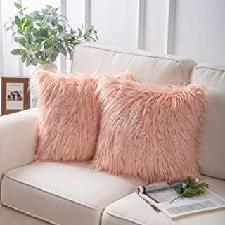 Phantoscope Pack of 2 Luxury Series Throw Pillow Covers Faux Fur Mongolian Style Plush Cushion Case for Couch Bed and Chair, Orange 18 x 18 inches 45 x 45 cm