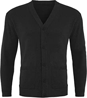 GA COMMUNICATIONS Mens Plain Button UP Cardigan Knitwear Classic Granddad Front Pockets Knitted TOP[Black,3XL]