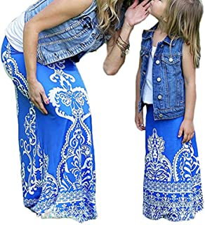 Mommy and Me Family Matching Bohemian High Waist Slim Long Maxi Skirt