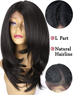 Lace Front Wigs Yaki Straight Synthetic Wigs for Women Black Color