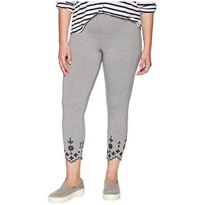 HUE Plus Size Embroidered Hem Cotton Skimmer Leggings (Grey Heather) Women