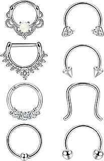 Adramata 8PCS 16G Anello da Naso in Acciaio Inox con Anello Septum Hoop Opal Body Piercing Clicker Ring