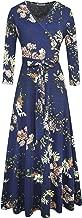 Aphratti Women's Fall Casual Faux Wrap V Neck Floral Long Maxi Dress