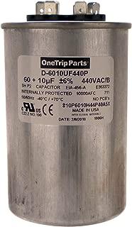 OneTrip Parts USA Run Capacitor 60+10 UF 60/10 MFD 370 VAC / 440 VAC 2-1/2 Inch Round Heavy Duty