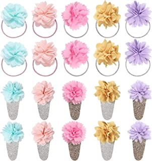 inSowni 20 Pack Daisy Flower Elastics Hair Ties Bands Scrunchies Ponytail Holders Snap Hair Clips Barrettes Accessories for Baby Girl Toddlers Kids