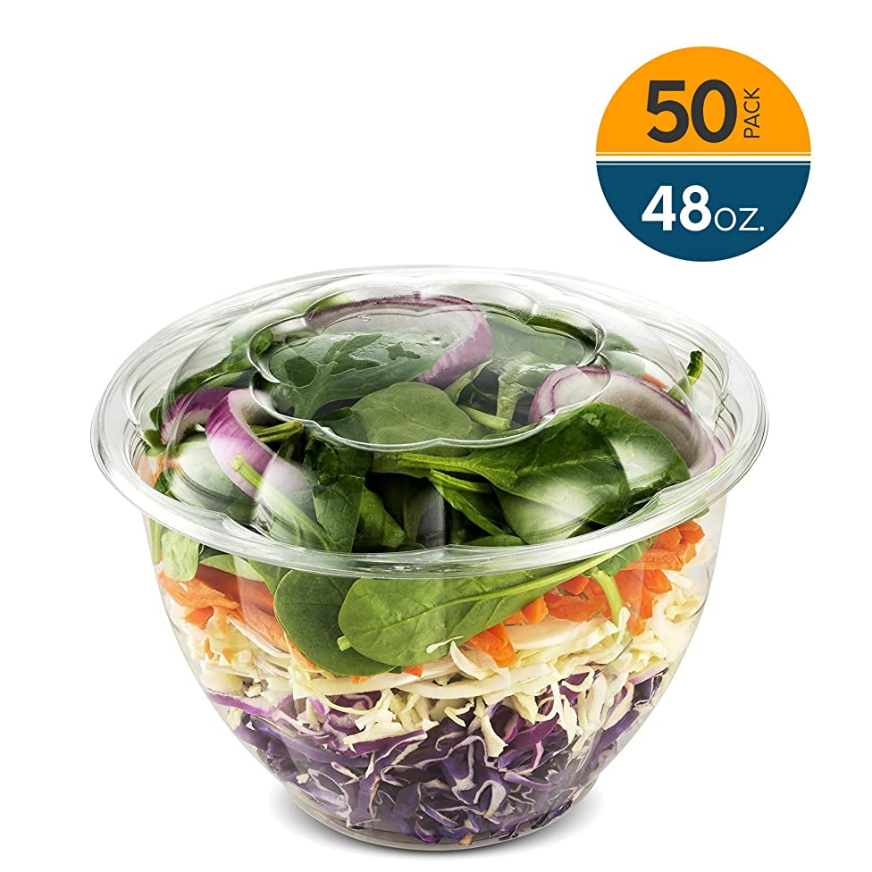 48 Ounce Clear Plastic Disposable Salad Containers with Lids in Bulk for a Fresh Airtight Seal, Portable Serving Bowl Set for Meal Prep & Preserve Freshness 50 Pack by NYHI Direct