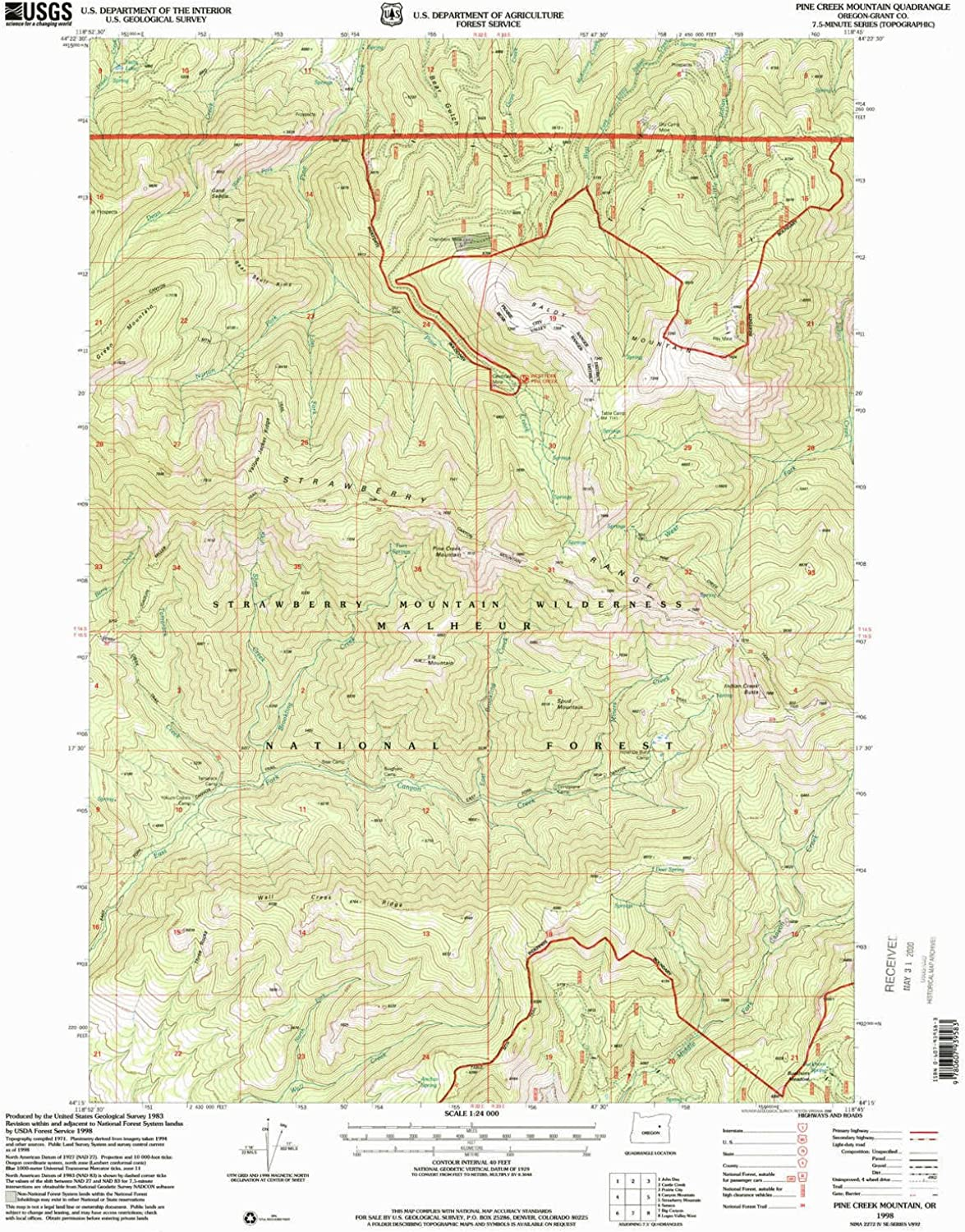 Pine Creek Mountain OR topo map, 1 24000 Scale, 7.5 X 7.5 Minute, Historical, 1998, Updated 2000, 26.8 x 21.5 in