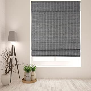 Arlo Blinds Cordless Semi-Privacy Grey-Brown Bamboo Roman Shades Blinds - Size: 35