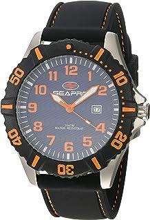 Seapro Men's Trooper Stainless Steel Quartz Silicone Strap, Black, 22 Casual Watch (Model: SP1511)