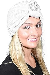 Ladies Headscarves Turban with Silver Pearl Diamond