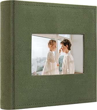 Golden State Art, Photo Album Christmas, Vacation, Memories for 200 4x6 Pictures Pockets with Memo, 2 Per Page, Large Front P