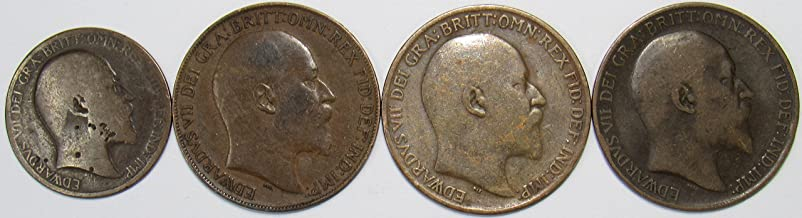 1905 & 1908-1910 UK Lot of 4 Great Britain Half and One Penny Coins Highly Circulated-VF