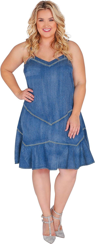 Standards & Practices Plus Size Women Ruffled Spaghetti Strap Tencel Denim Dress