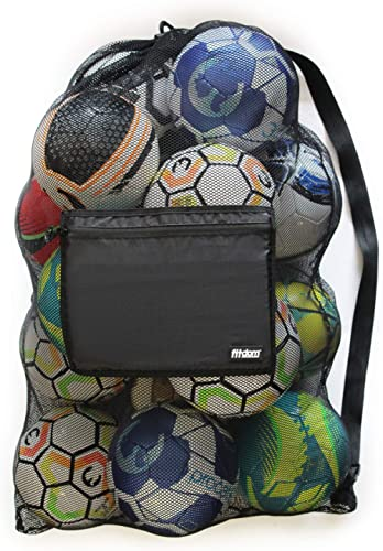 Fitdom Extra Large Heavy Duty Mesh Bag. Best for Soccer Ball, Water Sports, Beach Cloth, Swimming Gears. Adjustable S...