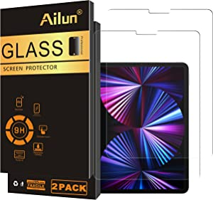 Ailun Screen Protector for New iPad Air 4th Generation[10.9 inch,2020 Release],iPad Pro 11 Inch Display [2021&2020&2018 Release] [2Pack] Tempered Glass [Face ID&Apple Pencil Compatible] Ultra Sensitive Case Friendly