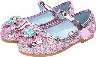 7956eabcd7 Eleasica Fille Talons Plats Chaussures de Princesse Reine des Neiges Elsa  Anna Paillettes Déguisement Violet Argenté