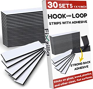 FixZilla - 30 Sets 1x4 Inch Hook and Loop Strips with Adhesive - Heavy Duty Tape - Strong Back Adhesive Hook and Loop Tape...