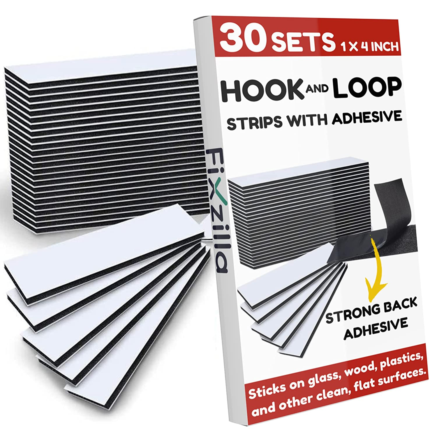 FixZilla - 30 Sets 1x4 Inch Adhesive Baltimore Mall and Max 67% OFF Hook with Loop Strips