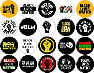 "Black Lives Matter 20 NEW 1 Inch (25mm) Set of 20 Pinback Buttons Badges Pins 1"" BLM"