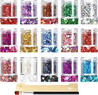 Glitter SUPGIFT 15 Colors 280g Holographic Chunky Cosmetic Laser Sequins for Makeup Body Hair Nail Art Slime Craft Resin w...