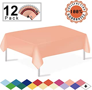 Peach Plastic Tablecloths Disposable Table Covers 12 Pack Premium 54 x 108 Inches Table Cloths for Rectangle Tables up to 8 Feet and for Picnic Birthdays Weddings any Events Occasions, PEVA Material