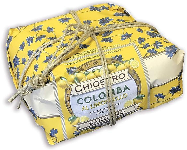 Colomba pasquale -crema di limoncello e cioccolato fondente 750 g -incartata a mano chiostro di saronno B07PT74ZSB