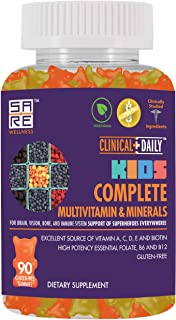 CLINICAL DAILY Complete Kids Multivitamin Daily Gummy Supplement for Brain, Vision, Bone and Immune Health. Vitamins A, C,...