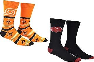 Naruto Shippuden Athletic Crew Socks (2 Pair) - Holiday Fair Isle Inspired Anime Gift Socks