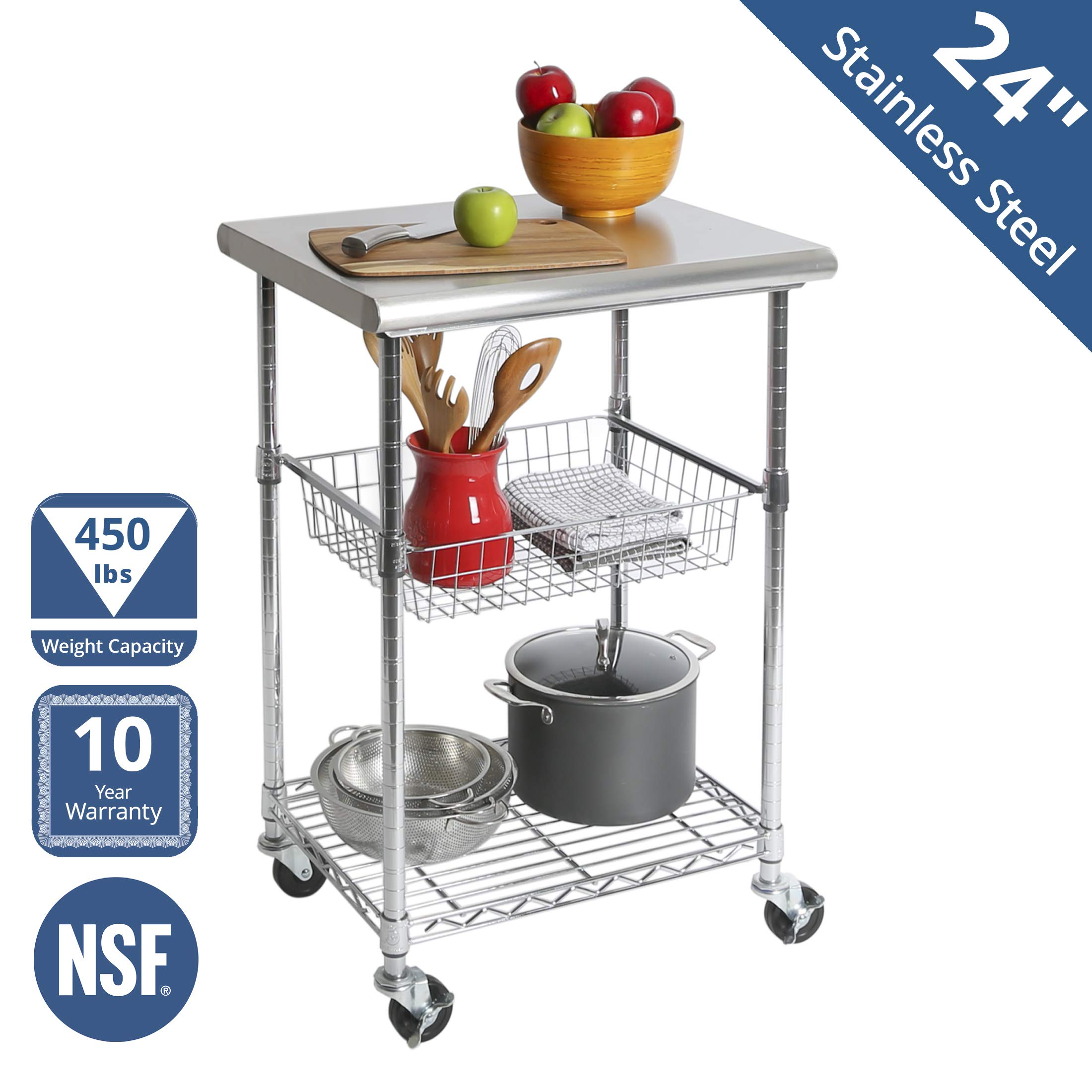 Seville Classics Stainless Steel Nsf Certified Professional Kitchen Work Table Cart 24 W X 20 D