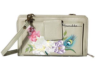 Anuschka Handbags Cell Phone Crossbody Wallet 1149 (Regal Peacock) Handbags