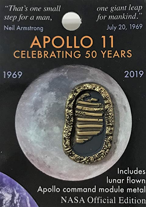 Amazon.com: Nasa Apollo 11 Foot Prints 50th Anniversary Lapel Pin Contains  Flown Command Module Metal That Went to the Moon : Clothing, Shoes & Jewelry