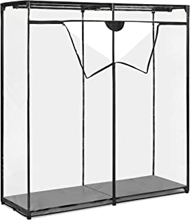 Whitmor Ebony Crystal Steel Clothes Closet, Black and Clear