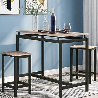 Ensemble de 3 pièces de bar, table de pub de cuisine et 2 tabourets de bar, 3 pièces avec cadre en métal pour cuisine, sal...