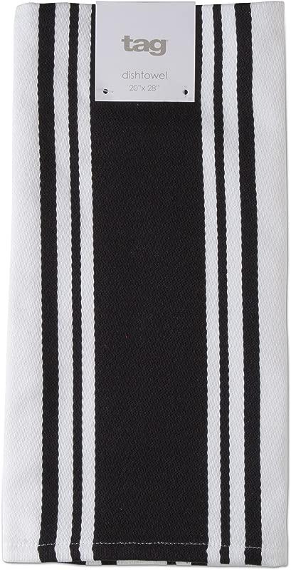 TAG 205461 Wide Stripe Dishtowel Black 20 W X 28 L