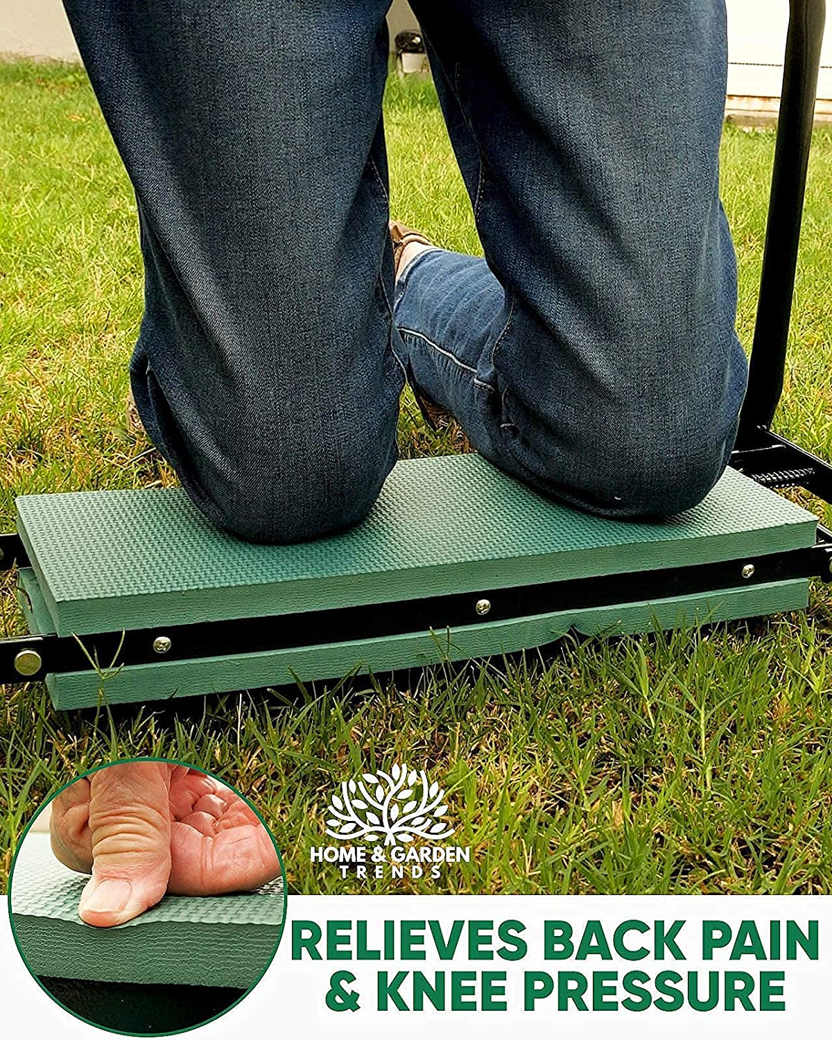 H&GT Garden Kneeler and Seat, Foldable Garden Stool Heavy Duty Gardening Bench for Kneeling and Sitting to Prevent Knee & Back Pain, Great Gift For Gardeners, Grandparents, Mom & Dad : Patio, Lawn & Garden