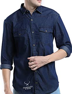 FERNWEH Mens Casual Shirts Checkered Shirts, Denim Shirts, Rugged Full Sleeve Shirts for Men