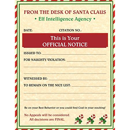 Xmas Party Favors 48-Pack Christmas Certificate Paper from Santa Claus for Kids 36 Nice List 12 Naughty List 11 x 8.5 Inches 180 GSM Gold Foil Print Design Nice and Naughty List Certificates