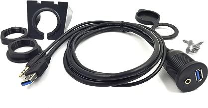 Duttek USB Panel Flush Mount Cable - 3.3ft USB 3.0 & 3.5MM Male to Female AUX Extension Mount, Dash Mount, Flush Mount, Panel Mount Cable, for Car, Boat, Motorcycle 1M