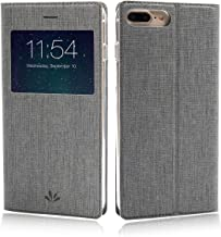 iPhone 8 Case, iPhone 7 Case, Wallet Case Cover View Window Leather PU Flip Folio Stand Kickstand Card Holders Slots Magnetic Closure TPU Slim Protective Bumper Feitenn for iPhone 7 iPhone 8 - Gray