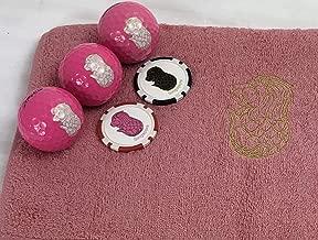 マーライオンゴルフボール ピンク(ホワイト)&マーライオン今治タオル(ピンク)&マーライオンボールマーク(レッド・ブラック)セット