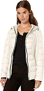 1 Madison Womens OME417700 Down Packable Hooded Jacket Mixed with Jersey Knit Down Outerwear Coat