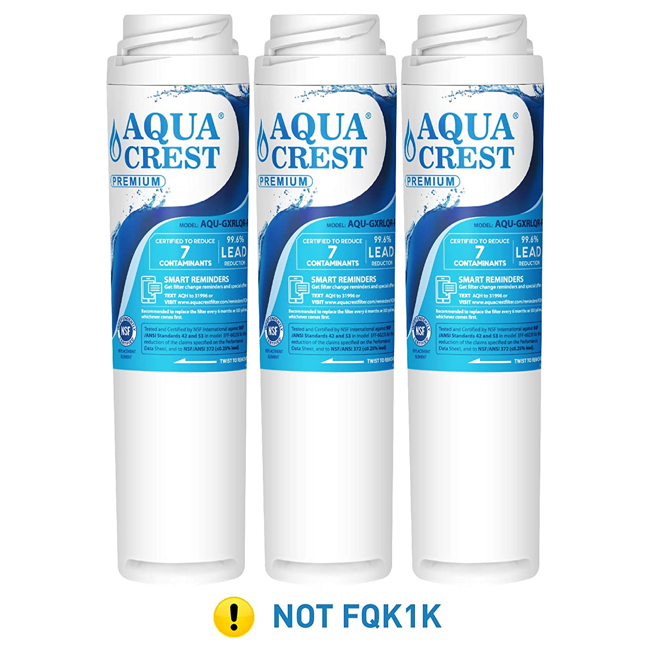AQUA CREST NSF 53&42 GXRLQR Inline Water Filter, Compatible with GE SmartWater Twist and Lock in-Line GXRLQR Water Filter (Pack of 3)