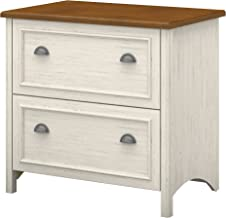 Bush Furniture Stanford 2 Drawer Lateral File Cabinet in Antique White and Tea Maple